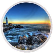 Dawn At Portland Head Lighthouse Round Beach Towel