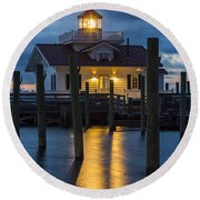 Dawn At Roanoke Marshes Lighthouse Round Beach Towel