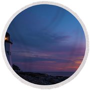 Dawn At Scituate Light Round Beach Towel