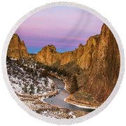 Dawn At Smith Rock State Park Round Beach Towel
