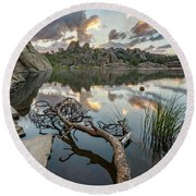 Round Beach Towel featuring the photograph Dawn At Sylvan Lake by Adam Romanowicz