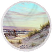 Dawn At The Beach Round Beach Towel