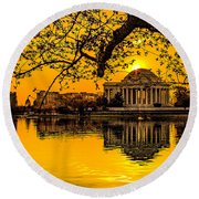 Round Beach Towel featuring the photograph Dawn At The Jefferson Memorial  by Nick Zelinsky