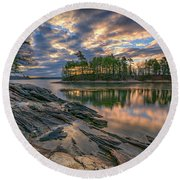 Round Beach Towel featuring the photograph Dawn At Wolfe's Neck Woods by Rick Berk