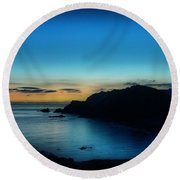 Dawn Blue In Mediterranean Island Of Minorca By Pedro Cardona Round Beach Towel