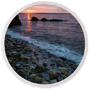 Round Beach Towel featuring the photograph Dawn, Camden, Maine  -18868-18869 by John Bald