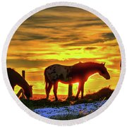 Round Beach Towel featuring the photograph Dawn Horses by Fiskr Larsen