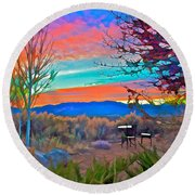 Dawn In El Prado  Round Beach Towel