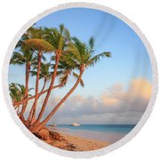 Round Beach Towel featuring the photograph Dawn In Punta Cana by Adam Romanowicz