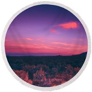 Dawn In Taos Round Beach Towel