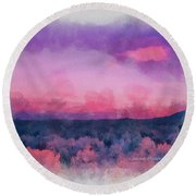 Dawn In Taos In Aquarelle Round Beach Towel