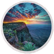 Dawn In The Chisos Round Beach Towel