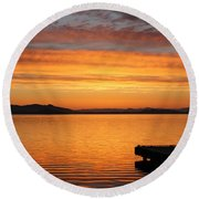 Dawn In The Sky At Dusavik Round Beach Towel