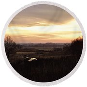 Dawn In The Valley Round Beach Towel
