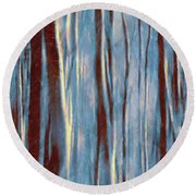 Dawn In The Winter Forest - Landscape Mood Lighting Round Beach Towel by Menega Sabidussi