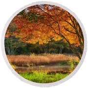 Dawn Lighting Rhode Island Fall Colors Round Beach Towel