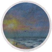 Dawn Mist - Three Gulls Round Beach Towel by Kathleen McDermott