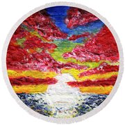 Dawn Of A New Day Seascape Sunrise Painting 141a Round Beach Towel