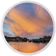 Dawn Of Cloud At North Jetty Round Beach Towel by Greg Nyquist
