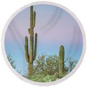Dawn Of Saguaros Round Beach Towel