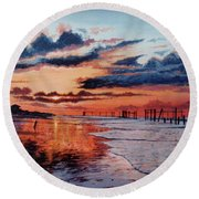 Dawn On Crystal Beach Round Beach Towel