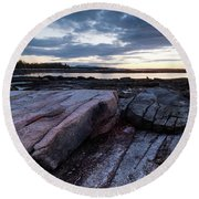 Dawn On The Shore In Southwest Harbor, Maine  #40140-40142 Round Beach Towel