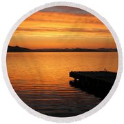 Dawn On The Water At Dusavik Round Beach Towel