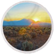 Dawn Over Magic Taos Mountain Round Beach Towel