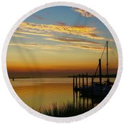 Dawn Over The Bay Round Beach Towel