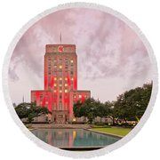 Dawn Panorama Of Houston City Hall At Hermann Square - Downtown Houston Harris County Round Beach Towel