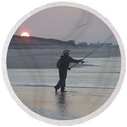 Round Beach Towel featuring the photograph Dawn Patrol by Newwwman