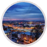 Dawn Rising On The Queen City From Mt. Adams Round Beach Towel