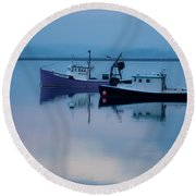 Dawn Rising Over The Harbor Round Beach Towel by Jeff Folger