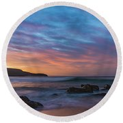 Dawn Seascape With Rocks And Clouds Round Beach Towel