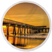 Round Beach Towel featuring the photograph Dawn Under Tybee Island Pier Sunrise Reflections Art by Reid Callaway