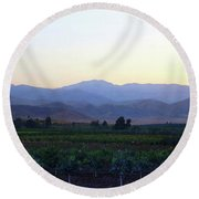 Dawn View Of The Sierras Round Beach Towel