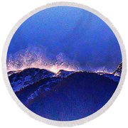 Dawn With Snow Banners Over Truchas Peaks Round Beach Towel by Anastasia Savage Ealy