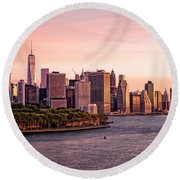 Dawn's Early Morning Light On New York City Round Beach Towel