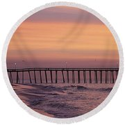 Dawns Purple Waters Round Beach Towel