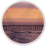 Dawns Purple Waters Round Beach Towel