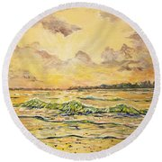 Dawns View Of Siesta Key Round Beach Towel by Lou Ann Bagnall