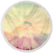 Dawn's Wonder Glow On My Mountain Muse Round Beach Towel by Anastasia Savage Ealy