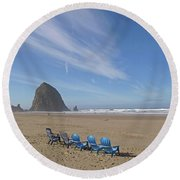 Round Beach Towel featuring the photograph Day At Haystack Rock by Suzy Piatt