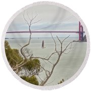 Day At The Bay Round Beach Towel
