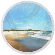 Day At The Beach Round Beach Towel