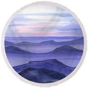Round Beach Towel featuring the painting Day Break by Yolanda Koh