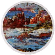 Round Beach Towel featuring the painting Day Dreaming Sedona Arizona by Reed Novotny
