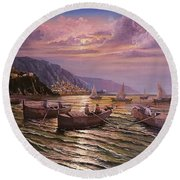 Day Ends On The Amalfi Coast Round Beach Towel