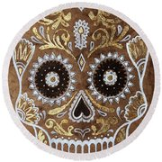 Round Beach Towel featuring the painting Day Of Death by J- J- Espinoza