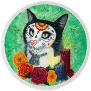 Round Beach Towel featuring the painting Day Of The Dead Cat Candles - Sugar Skull Cat by Carrie Hawks